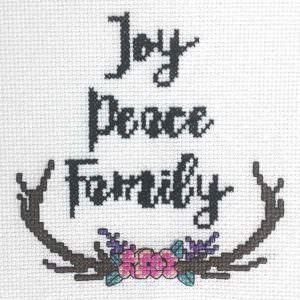 Joy Peace Family cross stitch ornament