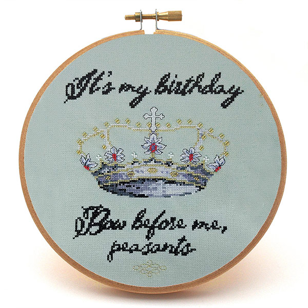 Bow Before Me birthday cross stitch pattern
