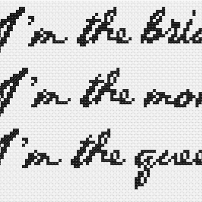 Bow Before Me birthday cross stitch pattern options