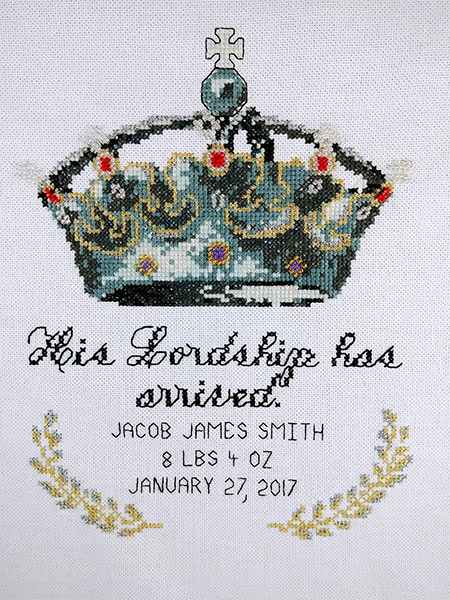 His Lordship baby boy cross stitch pattern
