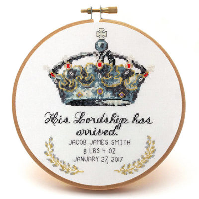 His Lordship Her Ladyship cross stitch baby announcement