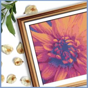 Orange Fire Dahlia cross stitch pattern
