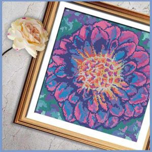 Pink Marbled Dahlia cross stitch pattern