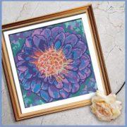 Purple Dahlia cross stitch pattern