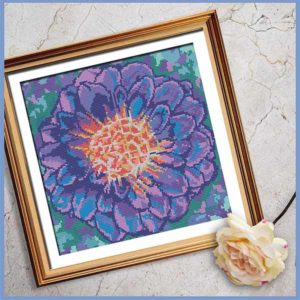 Purple Dahlia cross stitch pattern