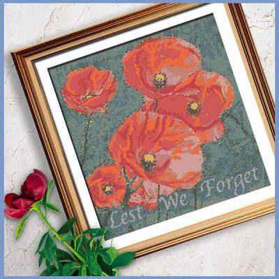 Flanders Field Poppies Cross Stitch Pattern