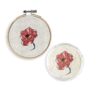 French poppy cross stitch coaster and hoop