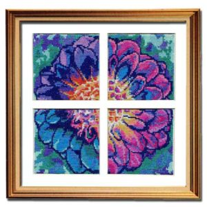 Solarize Dahlia counted cross stitch pattern
