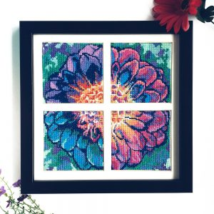 Solarize Dahlia cross stitch pattern set