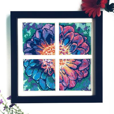 Solarize Dahlia cross stitch pattern set