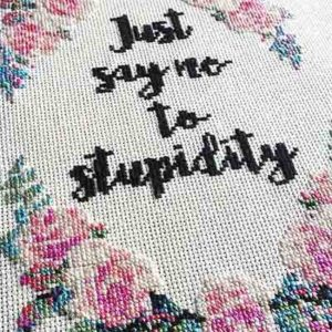 Just Say No funny cross stitch pattern