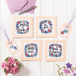 With Love cross stitch notecards