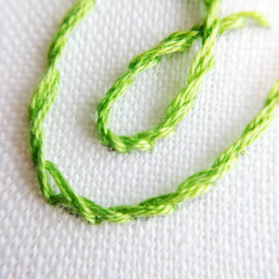 Split stitch stem stitch