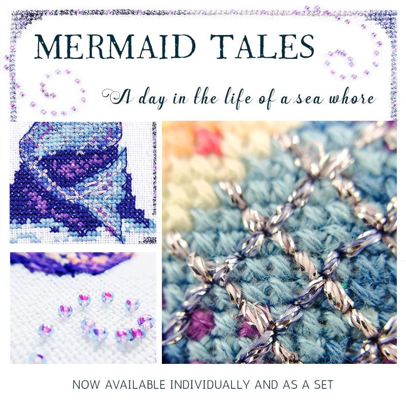be1e80159f3d Mermaid Tales Cross Stitch Pattern Set - Peacock   Fig
