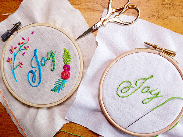 Embroidering letters: the stem stitch and split stitch