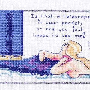 Telescope mermaid cross stitch pattern