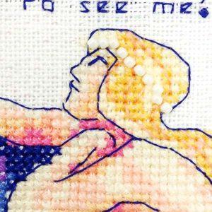 Telescope mermaid cross stitch pattern detail