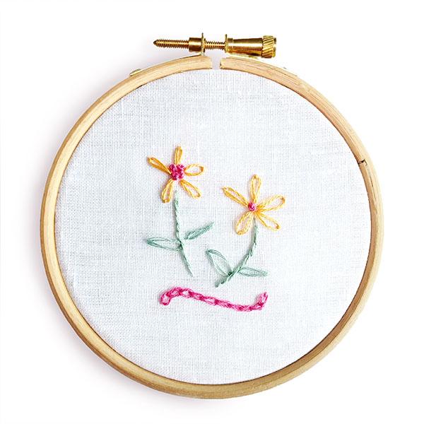 Chain stitch French knots lazy daisy stitch