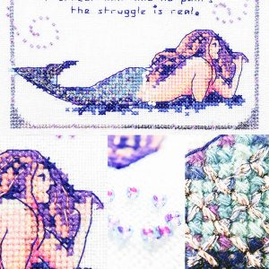Mermaid Struggles cross stitch pattern