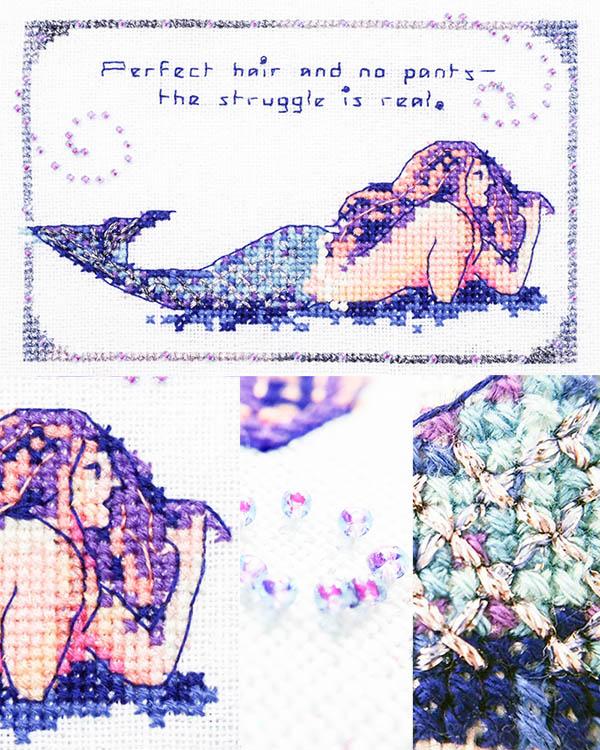 Mermaid Struggles cross stitch pattern