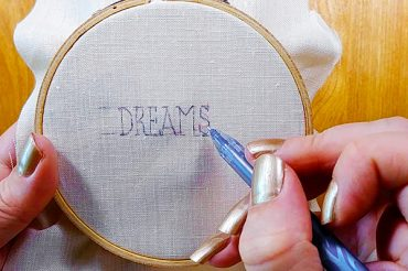 Aligning letters in a hand embroidery pattern