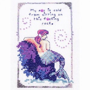 Cold Rock mermaid cross stitch pattern