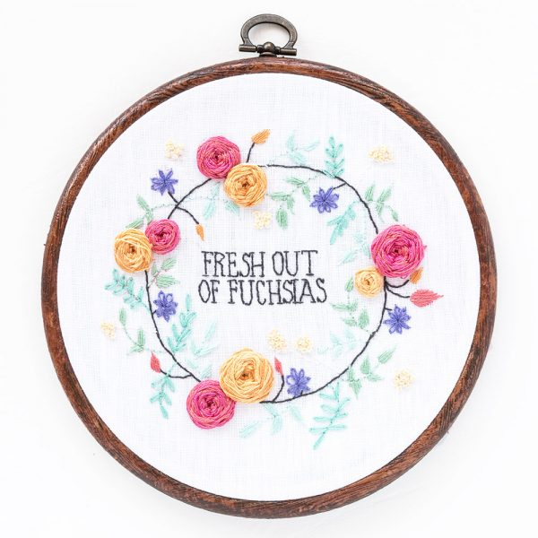 Fresh Out of Fuchsias hand embroidery pattern