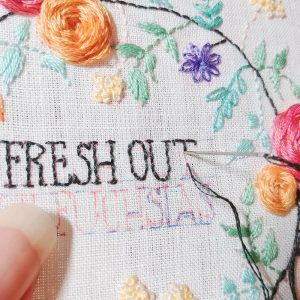 Fresh Out of Fuchsias hand embroidery pattern detail