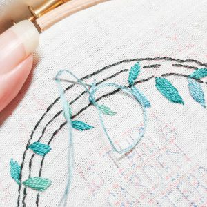 Garden Hoes hand embroidery pattern detail