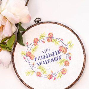Go Pollinate Yourself cross stitch pattern