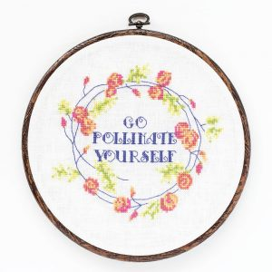 Go Pollinate Yourself cross stitch pattern
