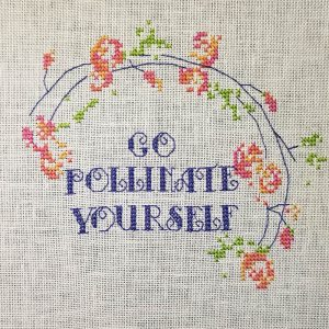 Go Pollinate Yourself cross stitch pattern detail