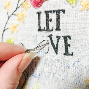 Let Love Bloom hand embroidery pattern detail