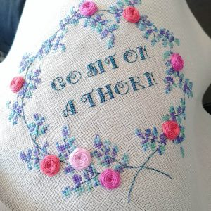Sit on a Thorn cross stitch pattern detail