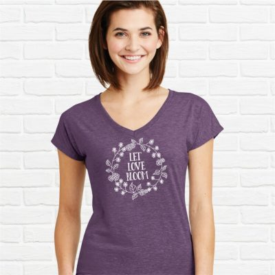 Let-Love-Bloom-Ladies-Vneck-Tee