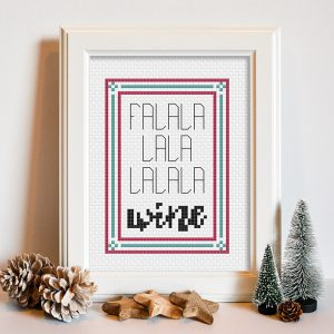 Fa La La Wine cross stitch pattern