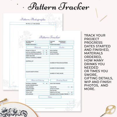 cross stitch embroidery tracker printable