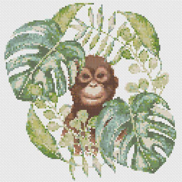 Orangutan Dreams cross stitch pattern