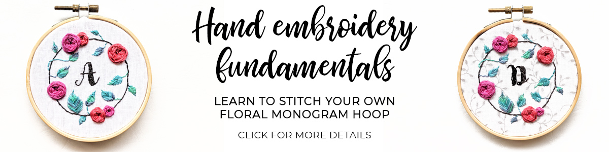 Floral Monogram Embroidery Hoop