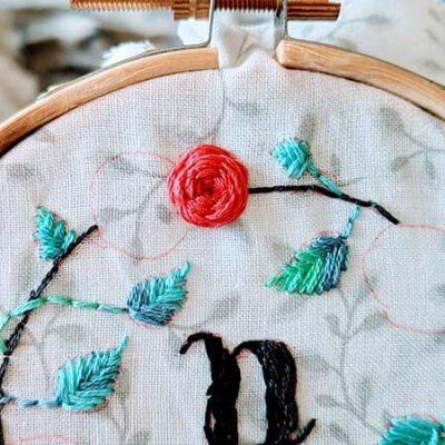 Floral embroidery monogram hoop