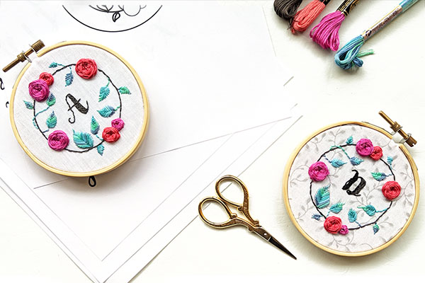 Hand Embroidery Fundamentals: Stitch Your Own Floral Monogram Hoop