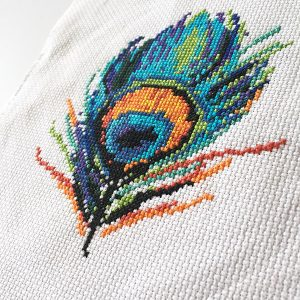 Peacock feather cross stitch pattern