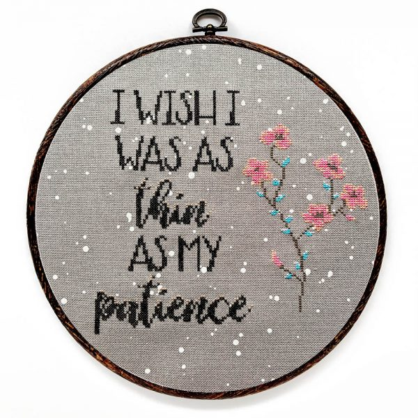 Thin patience cross stitch pattern