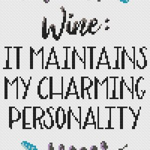 Wine substitution Caffeine cross stitch pattern