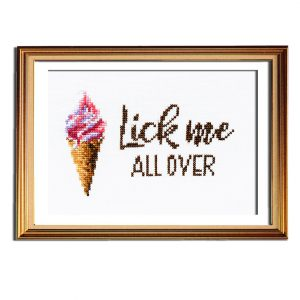 Lick Me cross stitch pattern