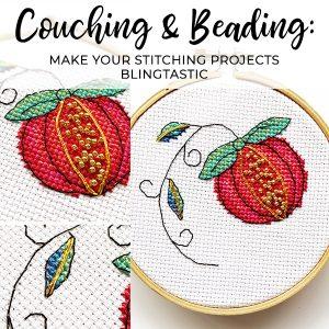 Pomegranate couching beading stitching class