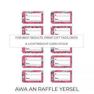 Awa an Raffle gift tags sheet