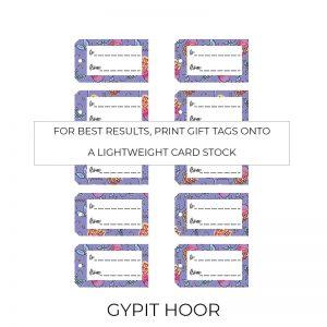 Gypit Hoor gift tags sheet