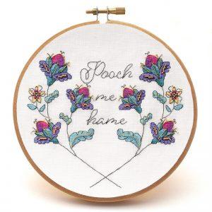 Pooch Me Hame cross stitch pattern hoop