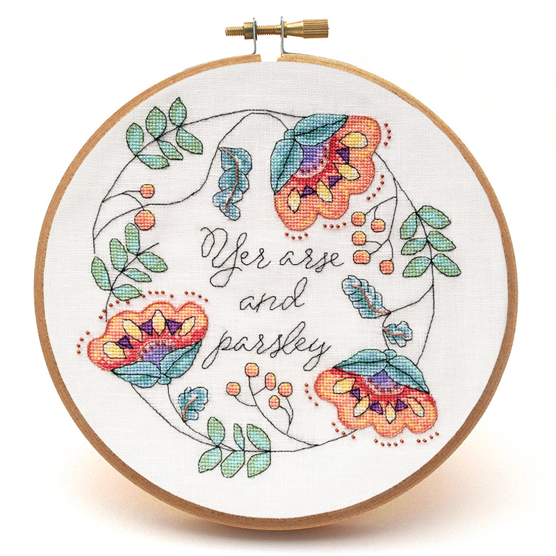 Yer Arse and Parsley cross stitch pattern hoop